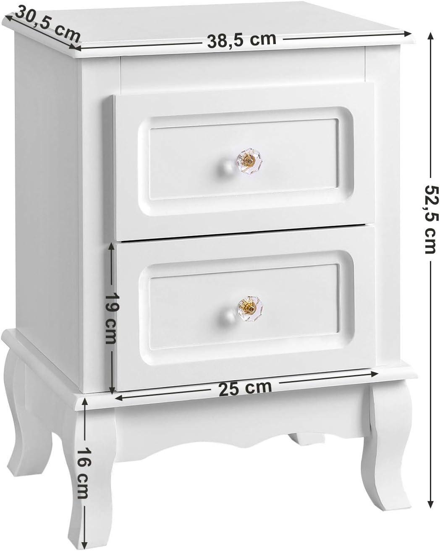 B x H x T SONGMICS Nachttisch Nachtschrank Kommode Ablagetisch mit 2 Schubladen wei/ß RDN01W Holz 38,5 x 52,5 x 30,5 cm