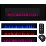 XtremepowerUS Allure Linear Wall Mount Smokeless Electric Fireplace, 50-inch Wide w/ 3 Changeable Flame Color