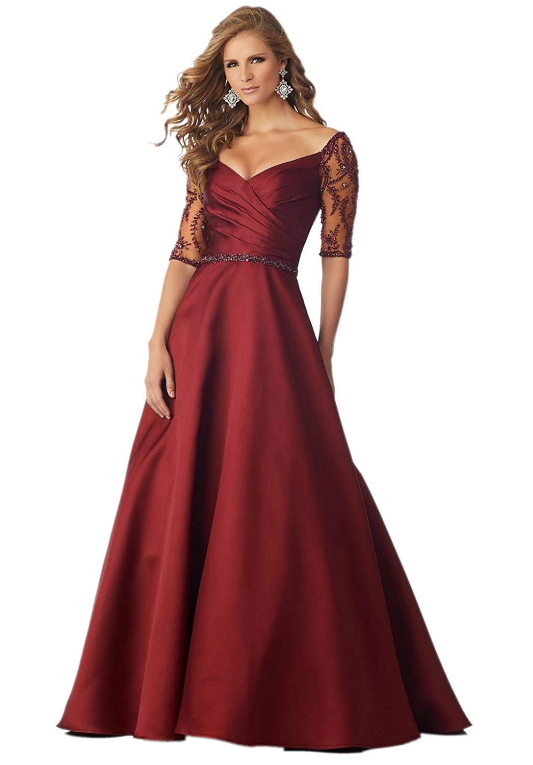 Burgundy Jerald Norton Ltd Women's Off The Shoulder Beaded Satin Evening Prom Dress V Back Party Gowns Burgundy