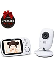 "EMEBAY - Video Baby Monitor Wireless Audio Monitor with Camera 3.2"" LCD Baby Alarm Built-in Lullabies Night Vision Temperature Monitoring 2 Way Talk / IR Night Vision / Temperature Monitor / 8 Lullabies / Big LCD Display (3.2"" LCD Video Baby Monitor)"