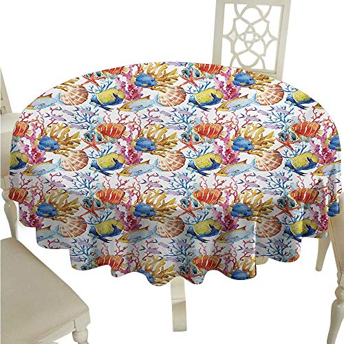longbuyer Round Tablecloth for Wedding Black Fish,Coral Reef Scallop Shells Fish Figures Sea Plants Polyp Murky Nautical Maritime Life,Multicolor D36,for 40 inch Table ()