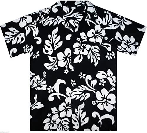 Funky Hawaiian Blouse Women Short-Sleeve Front-Pocket Hibiscus Multiple Colors