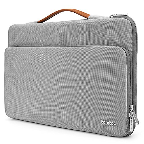 Tomtoc 360° Protective Laptop Sleeve for 15 -15.6 Inch HP | Dell | Asus | Acer | Thinkpad | Samsung Laptops Ultrabooks Notebooks, Spill-Resistant 15.6 Inch Laptop Tablet Briefcase, - Notebook Gray