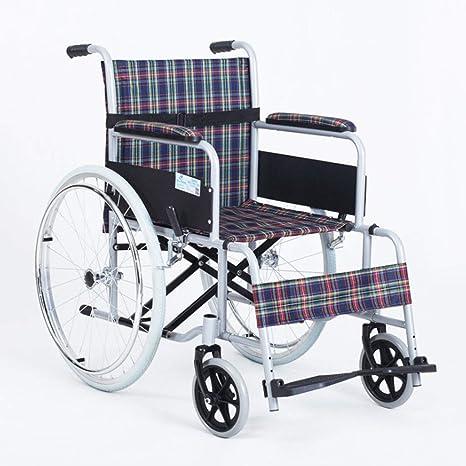 Silla de ruedas Pedales Ajustables, Manual Anciano Acero, Extraíble, Baranda Ajustable, para