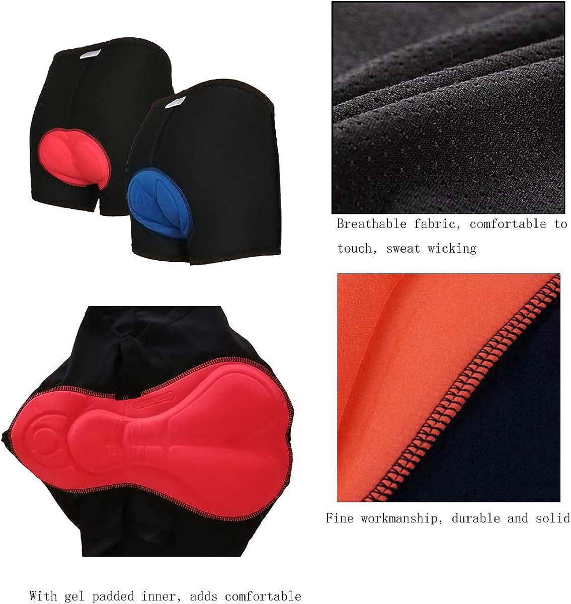 Lazzon Pantalones Cortos Ciclismo 3D Gel de S/ílice Acolchado Calzoncillos 2 Piezas Transpirable Ligero Ropa Interior de Bicicleta para Hombres Mujeres