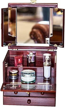 Estuche CosméTico Caja De Almacenamiento Joyero De Madera Gran Capacidad Exquisito Tallado con Alta DefinicióN De Tres Espejos: Amazon.es: Hogar