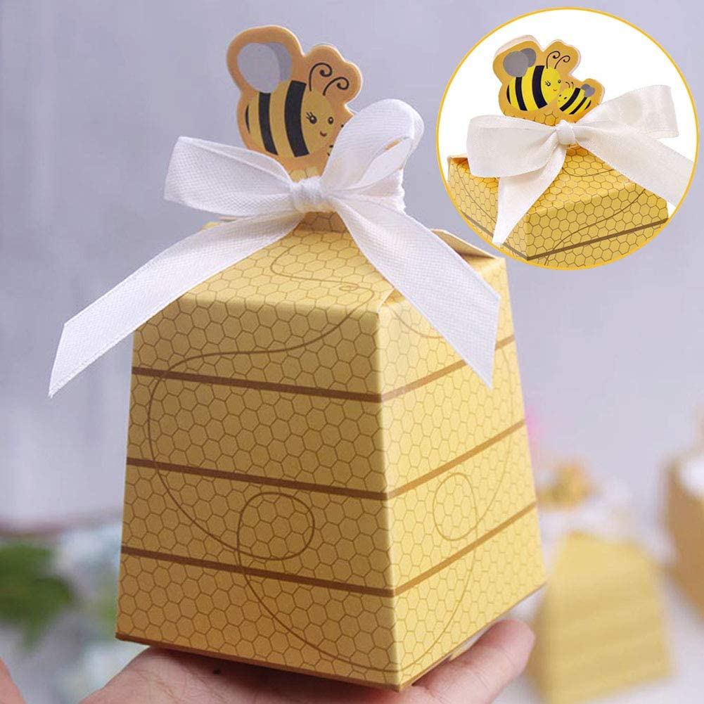 Details about  /50 Pack Bee Party Favor Boxes Treat Paper Beehive Gift For Gender Reveal Baby