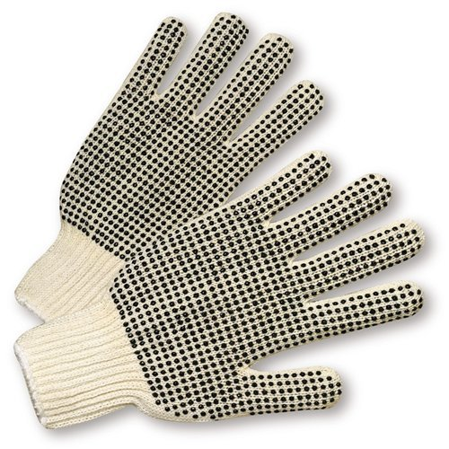 Work Dotted Pvc Gloves - West Chester K708SKBS PVC Dotted Both Sides String Knit Gloves, White, Large (Pack of 12)
