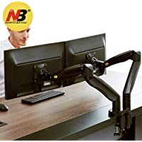 North Bayou Dual Monitor Desk Mount Stand Full Motion Swivel Computer Monitor Arm Gas Spring fits 2 Screens up to 32'' 19.8lbs Each Monitor Black
