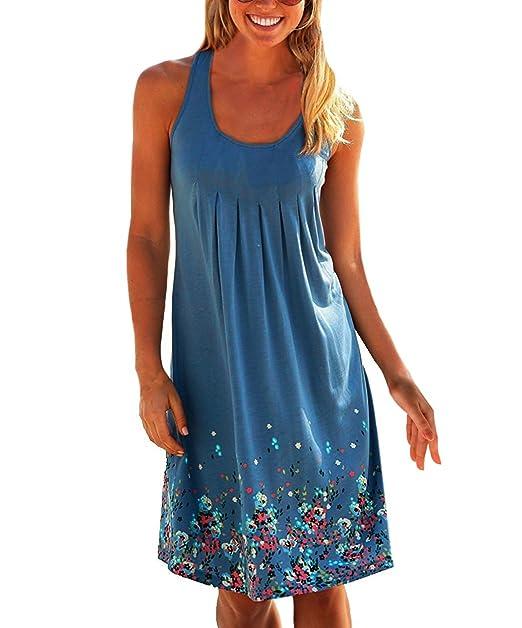 3468f5e6c98c23 Yidarton Donna Estate Vestito Stampa Knielang Senza Maniche Rotondo Collo  Beach Dress Estate Vestito Sciolto: Amazon.it: Abbigliamento