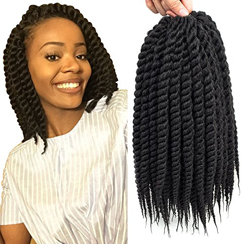 Dingxiu (6 Packs,12 inch) Havana Mambo Twist Crochet Hair Braids Senegalese Twist Crochet Braiding Hair (12