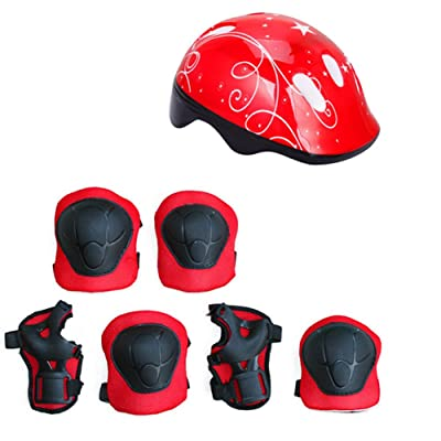 7pcs Sports Protective Gear Set Ultralight Kids Bicycle Helmet Slice Kneecap Elbow Guard Hand-Guard Kids Skateboard Cycling Safe Equipment Set for 3-14 Years Old (Red) : Sports & Outdoors