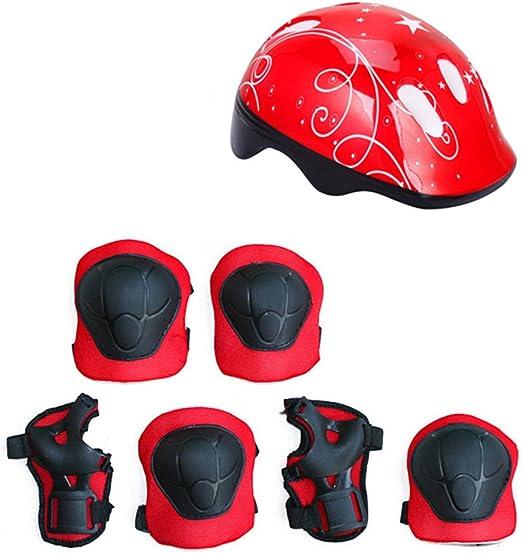 7pcs Kids Bike Ski Helmet Protective Gear Set Adjustable Knee Elbow Wrist Pads