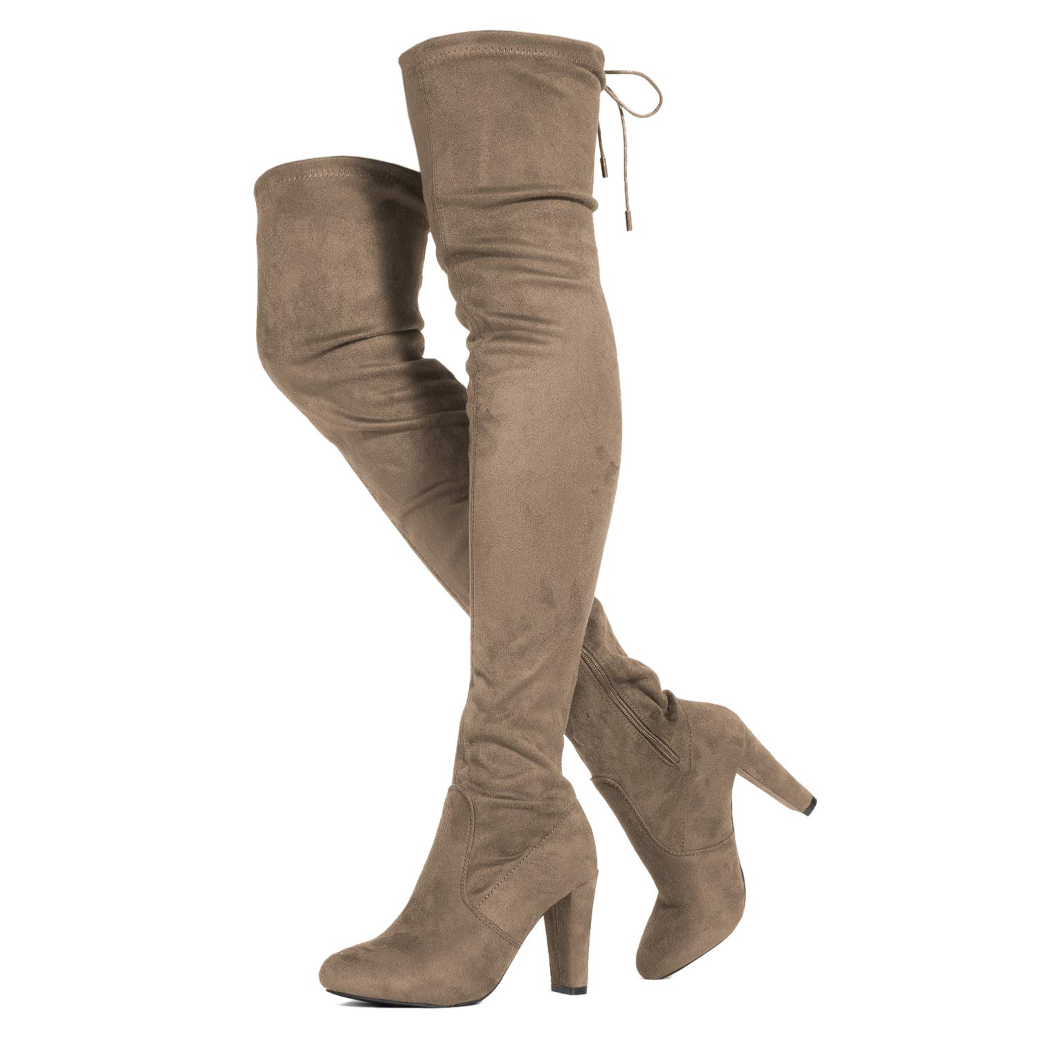 Taupe Suede - With Free shoeslace ROF Women's Fashion Comfy Vegan Suede Block Heel Side Zipper Thigh High Over The Knee Boots