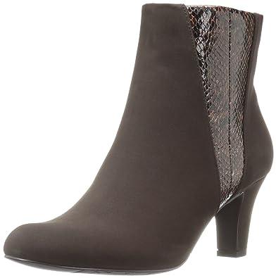 Easy Street Women's Endear Ankle Bootie, Brown Lamey/Snake, ...