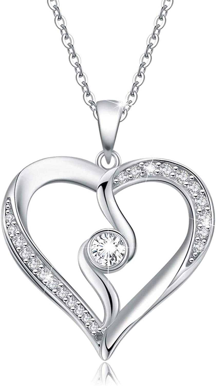 Blue CZ Double Love Heart Pendant 925 Sterling Silver Heart Necklace