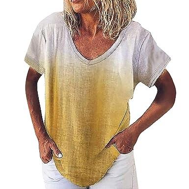 LANSKRT Camisetas Mujer Gradiente Corbata Teñida de Manga Corta ...