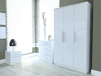 Toro 3 Piece Bedroom Set White High Gloss Triple Wardrobe Bedside Cabinet Chest