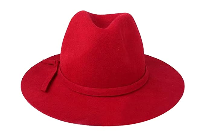 Image Unavailable. Image not available for. Color  YueLian Women Wool Fedora  Jazz Hats Caps Red 39d104386c0