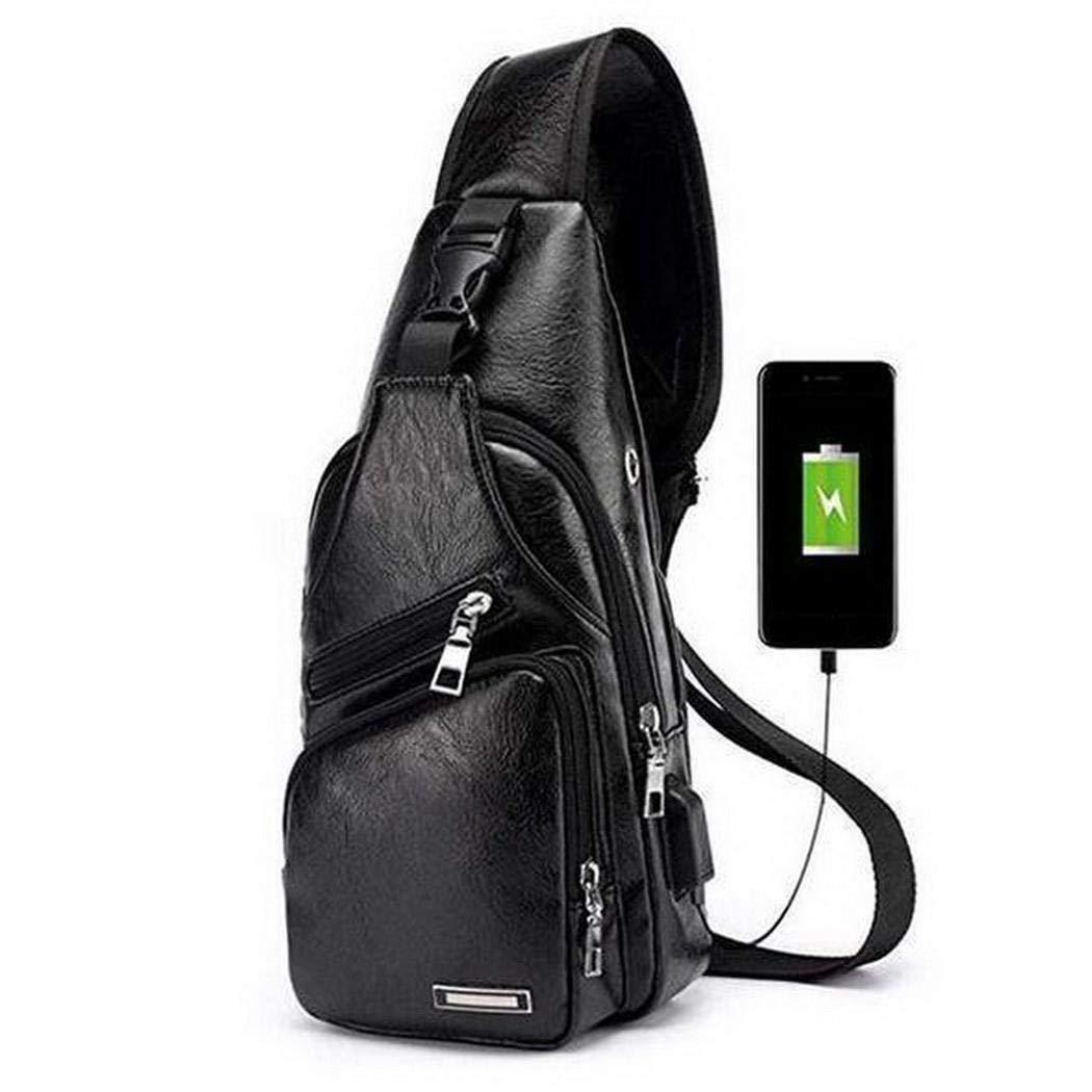 Gfone Borsa a tracolla per pettorali casual stile retr/ò con ricarica USB per uomo nuovo Marsupi sportivi