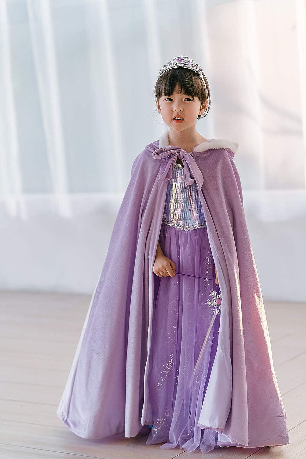 Party Umhang f/ür Halloween lang Wintermantel Cosplay yeesn M/ädchen Prinzessin ELSA Samt-Kapuze