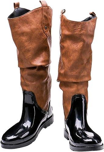 Botas equitacion Mujer Negro Ante sint/ética Elegantes Aumento Oto/ño Invierno Caliente Casual Botas altas de rodilla De BIGTREE