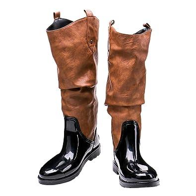 b0bca0dd9b0ab5 BIGTREE Bottes Femmes Cuissardes Slouch Bottes de Pluie Chaussures Flat  Tirez sur de Longues Bottes Western