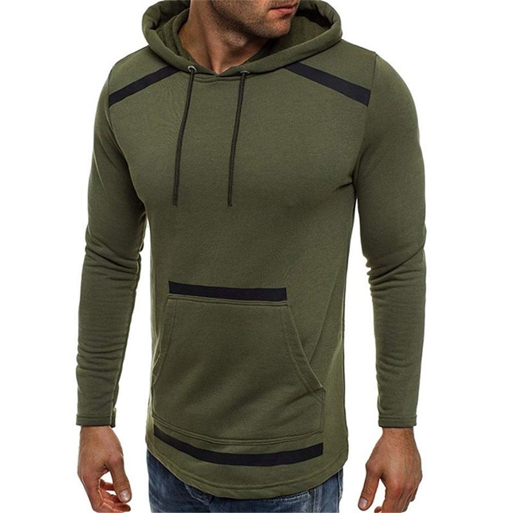 Langwyqu Mens Fall Casual Plain Warm Pullover Hoodies Sweatshirt with Pockets