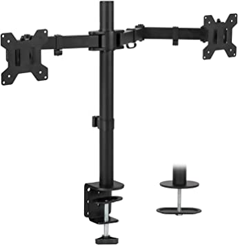 Amazon Com Mount It Dual Monitor Mount Double Monitor Desk Stand Two Heavy Duty Full Motion Adjustable Arms Fit 2 Computer Screens 17 19 20 21 22 24 27 Inch Vesa 75 100 C Clamp And Grommet Base Office Products