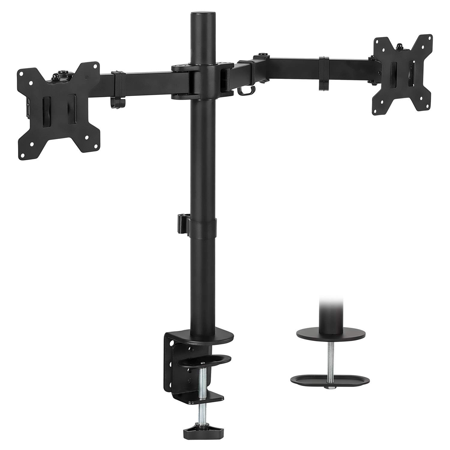 Mount-It! Dual Monitor Mount | Double Monitor Desk Stand | Two Heavy Duty Full Motion Adjustable Arms Fit 2 Computer Screens 17 19 20 21 22 24 27 Inch | VESA Compatible | C-Clamp and Grommet Base