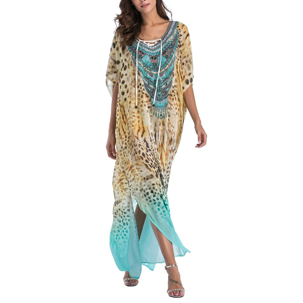 8d64cf9179 SMUDGE Life Women's White Ethnic Print Kaftan Maxi Dress Summer Beach Dress  at Amazon Women's Clothing store: