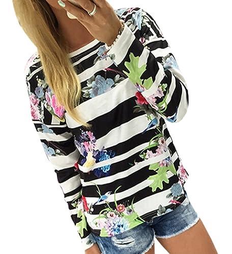 WanYang Mujer Manga Larga Camiseta de la Impresión de la Flores de la Flojas Blusa del Fuera Top