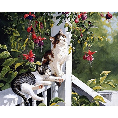 Basking Cat (DIY Oil Painting, Paint by Number Kit for Home Wall Decor Art Gift, Cats Basking in The Sun)