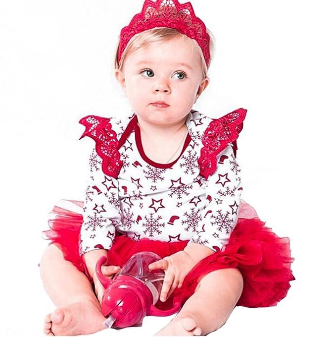 VLUNT Vestido de Navidad Fiesta Princesa para Bebé Niña Disfraz Mangas largas Ala de Navidad Pelele Fiesta Primavera Otoño Falda Gasa(Rojo): Amazon.es: Ropa ...