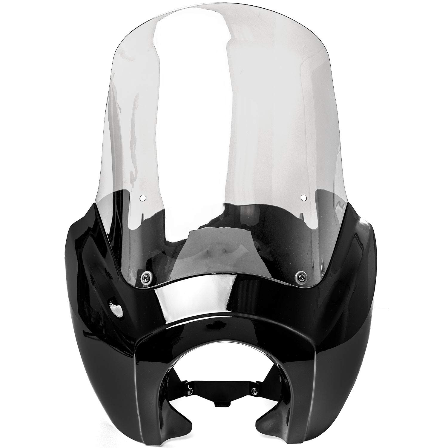 Krator Black /& Clear Tall Fairing Windshield Club Style Kit for 2006-2017 Harley-Davidson Dyna Modification May Be Required