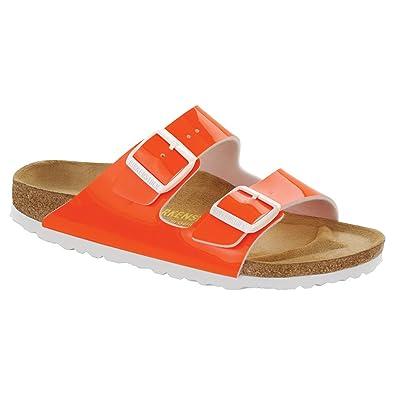BIRKENSTOCK Women's Arizona Neon Orange Patent Birko-Flor 37 N qBG4OW