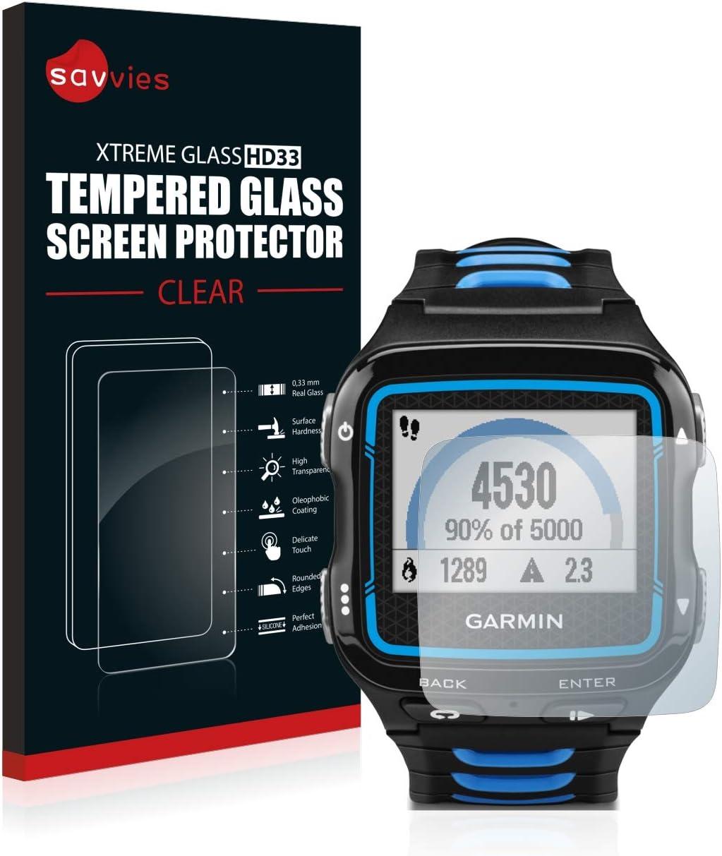 savvies Cristal Templado Compatible con Garmin Forerunner 920XT Protector Pantalla Vidrio Proteccion 9H Pelicula Anti-Huellas