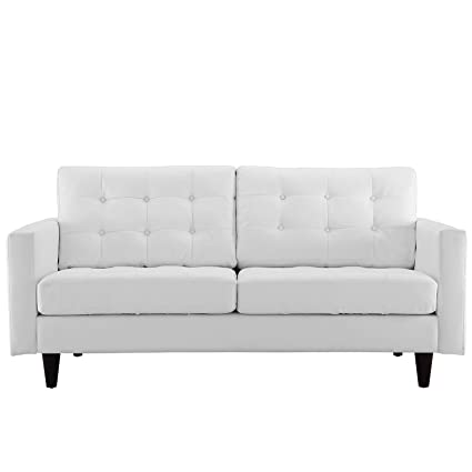 Amazon.com: Modern Contemporary Loveseat, White Leather: Kitchen ...