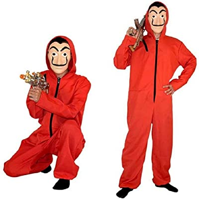 La Casa De Papel The Paper House Costume Halloween Hoodie Coverall Jumpsuit Red with Mask: Toys & Games