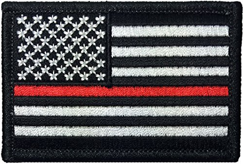 Tactical USA Flag Firefighter Fire & Rescue EMT EMS Thin Red Line Iron Sewing on Patch - Black & White 2
