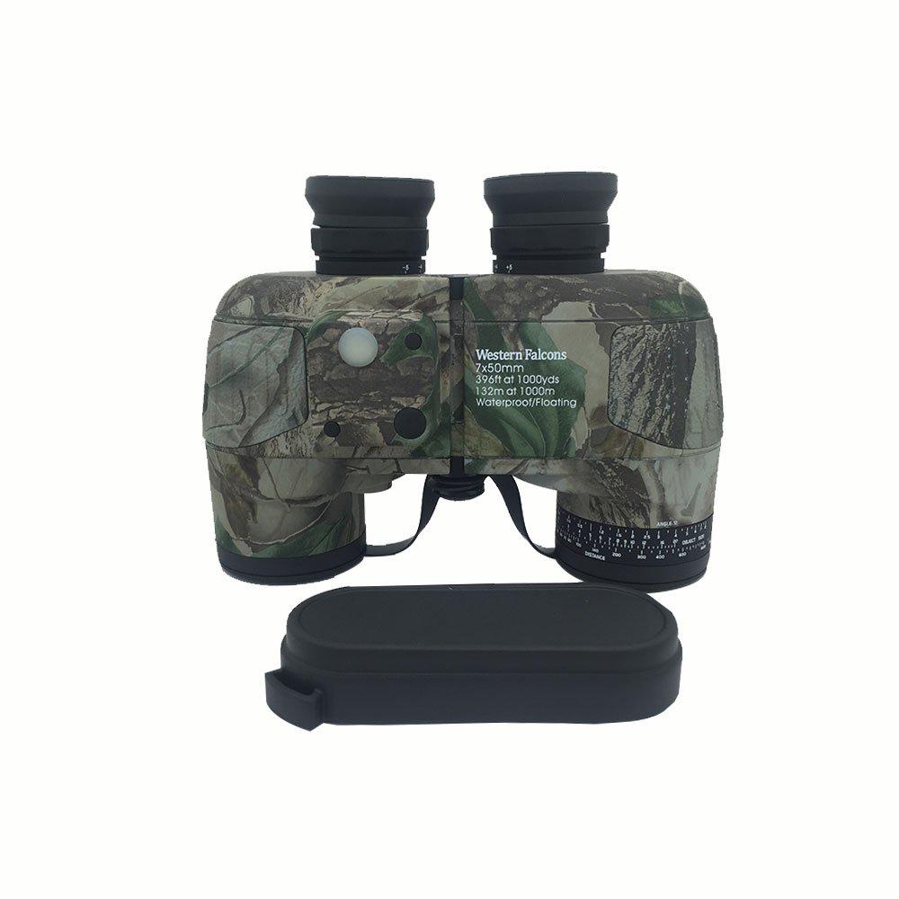 Western Falcons 7 X 50防水フローティング双眼鏡、内部距離計、ウッドランドカモ B01NB1TZAT
