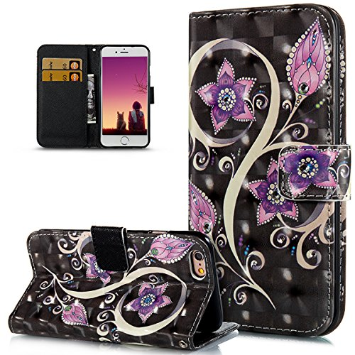 iPhone 6S Case,iPhone 6 Case,ikasus Crystal Glitter Rhinestone Diamonds 3D Art Painted Butterfly Flower Flip Folio Wallet PU Leather Stand Card Slot Case Cover for iPhone 6S / 6,Purple Flower
