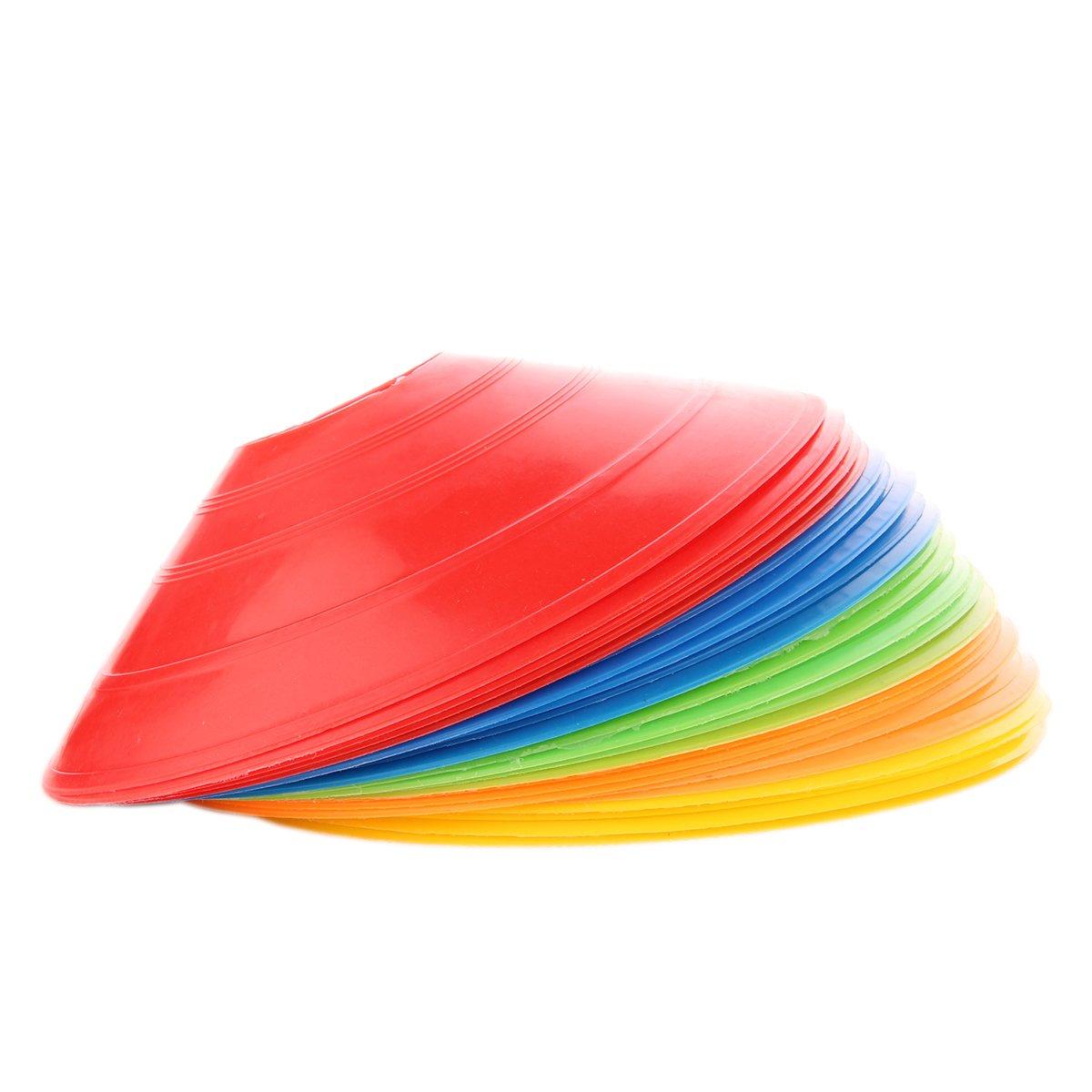 Clispeed Coni per dischi di calcio da 25 pezzi Coni da calcio per coni di agilità per allenamento, calcio, bambini, sport, marcatori a cono di campo Indicatori di campo Coni d'allenamento a più colori