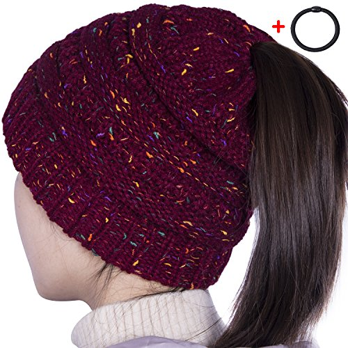 Knitted Beanie Hat Pattern (Sierry Womens Confetti Knit Beanie Hat, Soft Stretch Cable Hat With Ponytail Hole Pattern - Thick Soft Warm Winter Hat - CC Style)