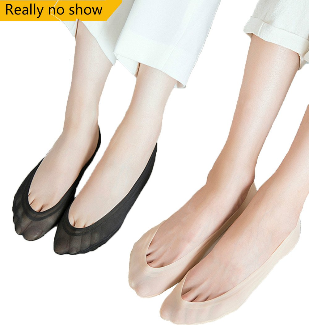 Women's No Show Socks Liner Low Cut Socks Cotton Nylon Boat Socks Hidden Invisible Socks(4 Pair,Beige)