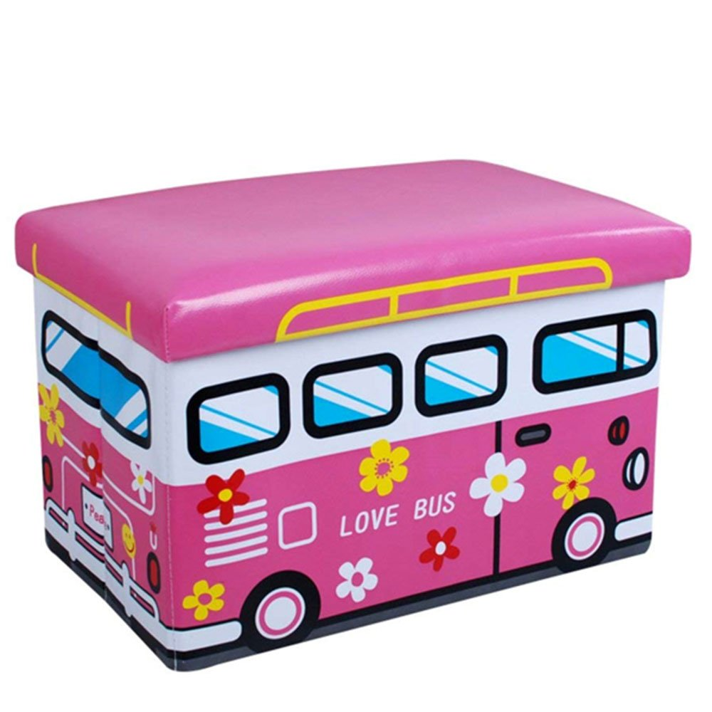 Vetrineinrete® Pouf contenitore pieghevole porta giochi e vestiti sgabello morbido imbottito 40x25cm similpelle salvaspazio giocattoli (Rosa) C71 vetrine in rete