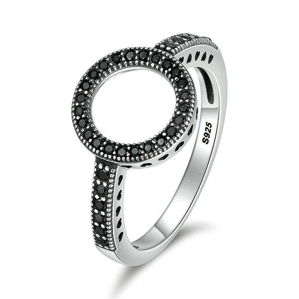 XioNiu Women Fashion Wedding Black White Rhinestone Circle Hollow Ring Rings