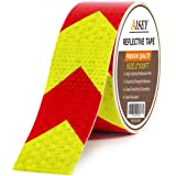Reflective Tape Waterproof High Visibility Red & Yellow, Industrial Marking Tape Heavy Duty Hazard Caution Warning…