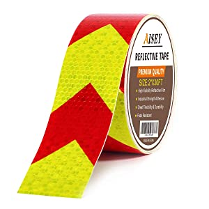 Reflective Tape Waterproof High Visibility Red & Yellow, Industrial Marking Tape Heavy Duty Hazard Caution Warning Safety Adhesive Tape Outdoor 2 Inch by 30 Feet
