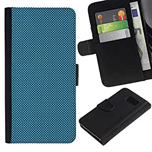 // PHONE CASE GIFT // Moda Estuche Funda de Cuero Billetera Tarjeta de crédito dinero bolsa Cubierta de proteccion Caso Samsung Galaxy S6 / LIGHT BLUE DOTS /